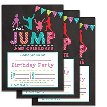 Amazon Com Set Of 25 Jumping Kids Birthday Party Invitations For