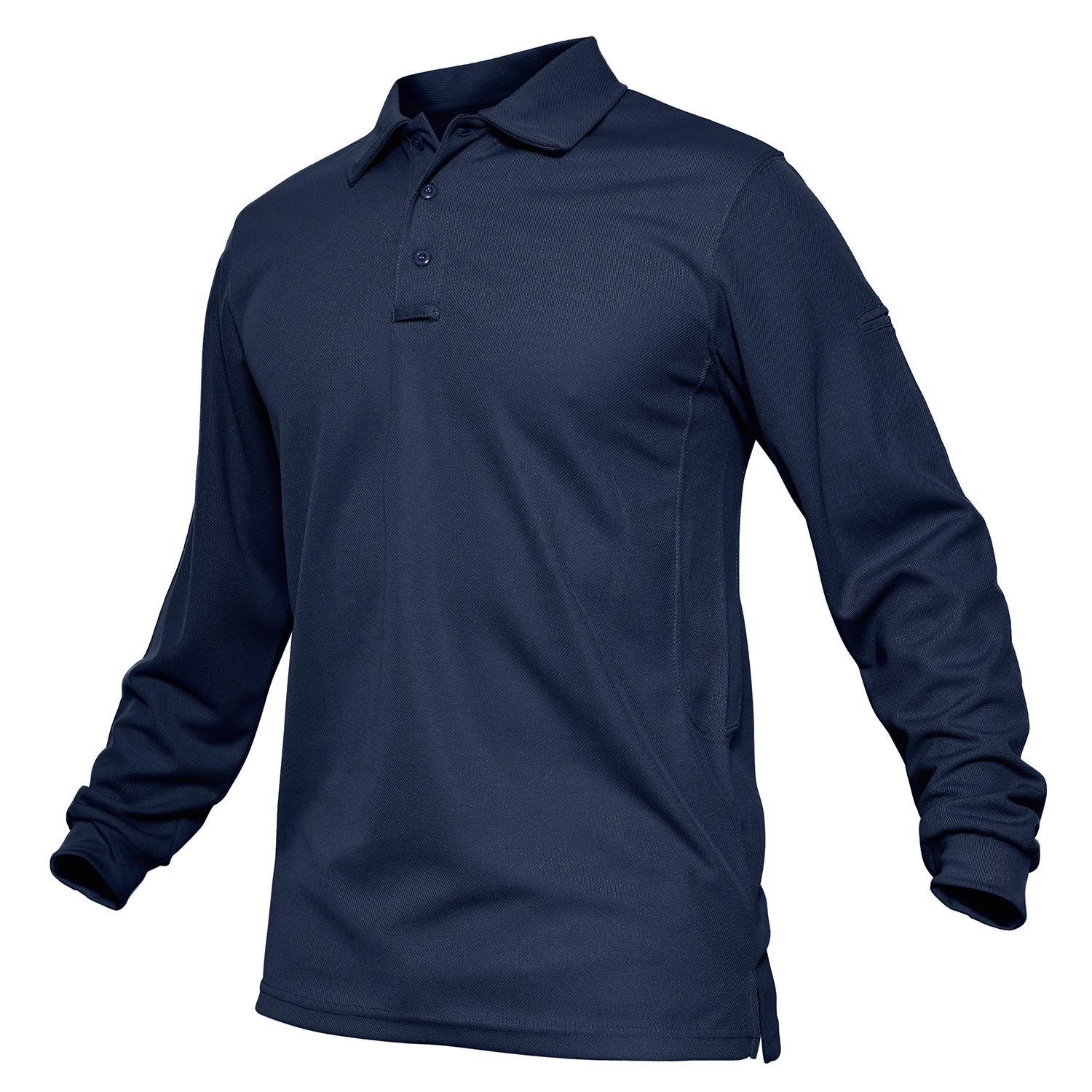 TACVASEN Men's Performance Battle Top Tactical Polo Combat Long Sleeve Navy,US L by TACVASEN