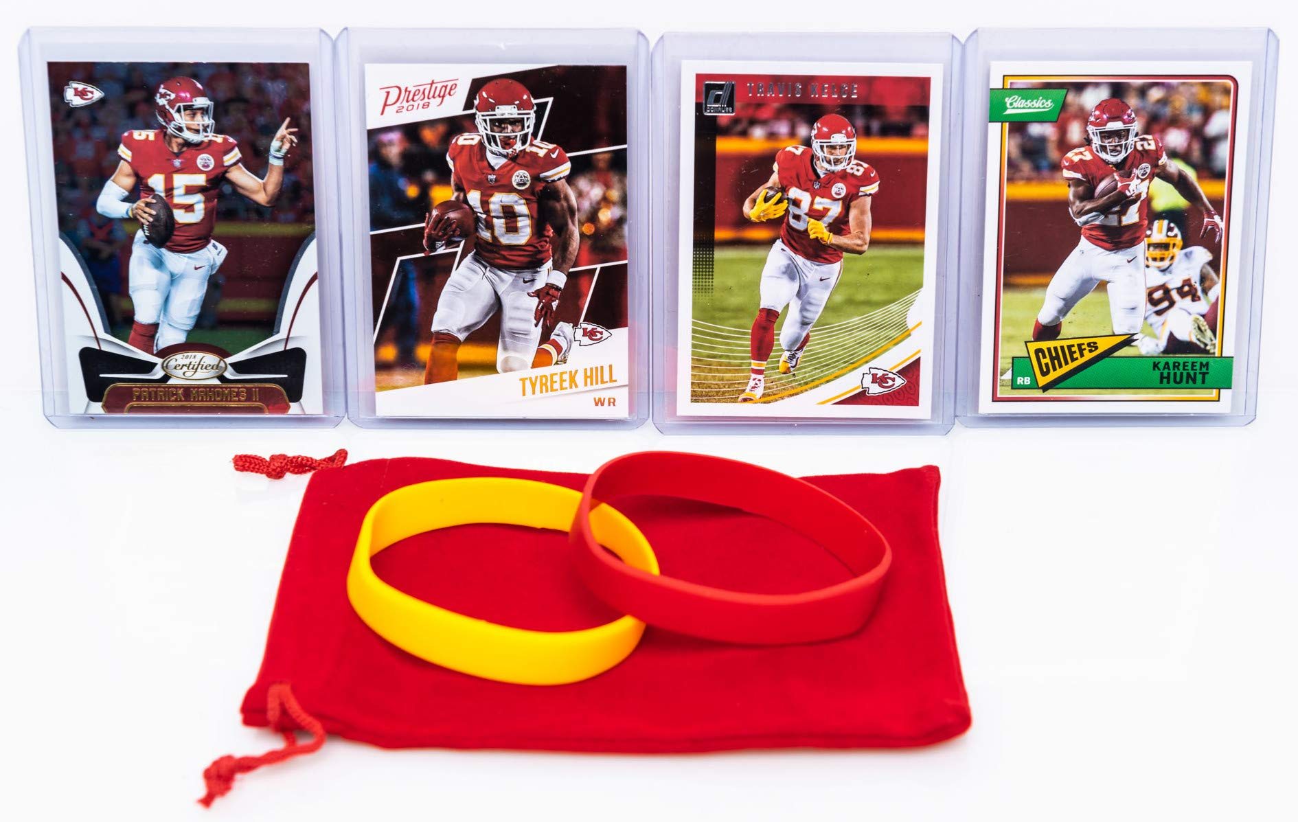 Kansas City Chiefs Cards: Patrick Mahomes, Tyreek Hill, Kareem Hunt, Travis Kelce ASSORTED Football Trading Card and Wristbands Bundle