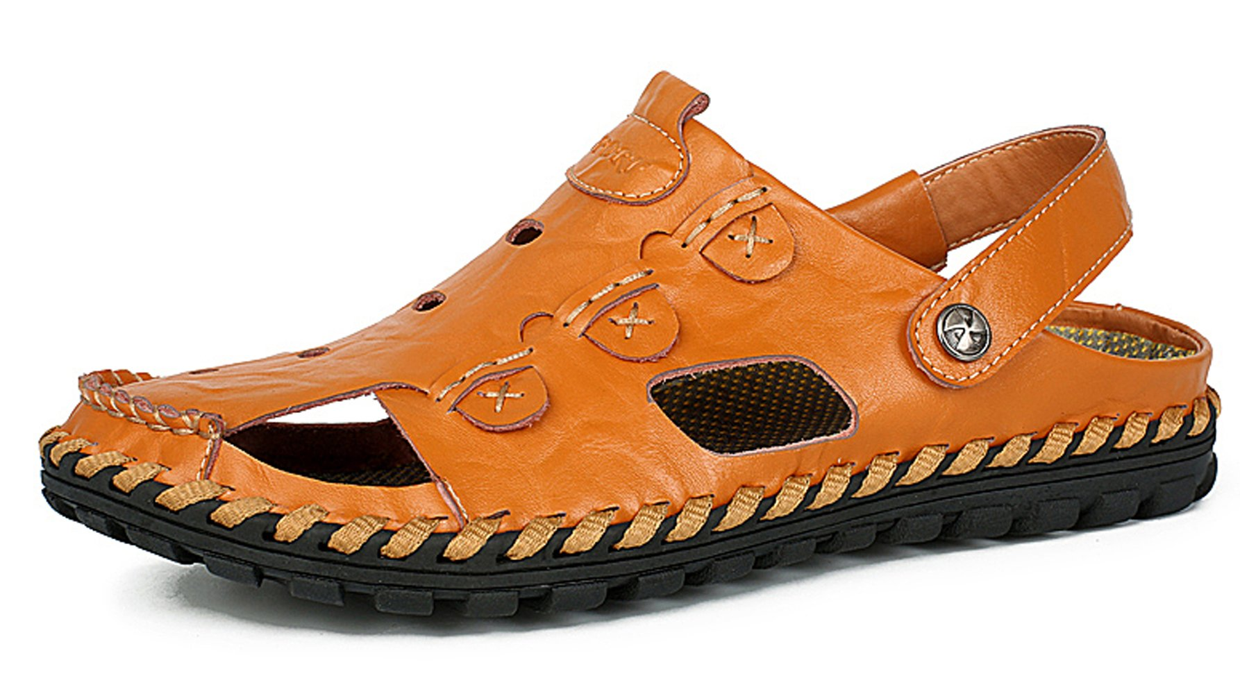YZHYXS Leather Slippers for Men 2018 Summer Beach Flat Sandals Breathable Comfort Walking Shoes Size 9 (9528orange43)