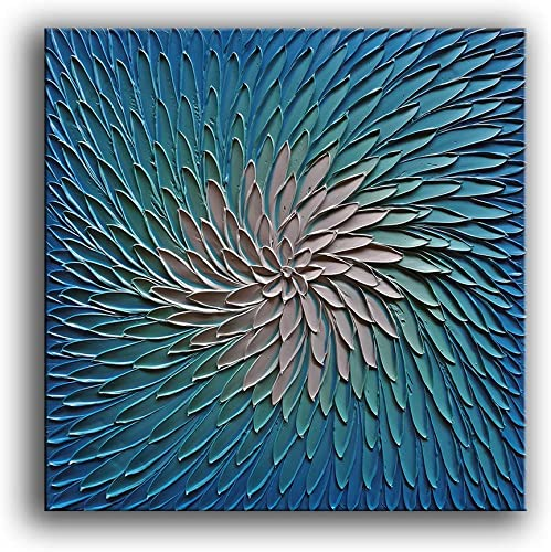 YaSheng Art – 3D Metallic Bead Light Blue and Silver Texture Oil Painting on Canvas Abstract Art Pictures Canvas Wall Art Paintings Modern Home Decor Abstract Paintings Ready to Hang 30x30inch