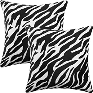 CARRIE HOME Animal Print Zebra Pillow Covers 18x18 Set of 2 Black and White Decorative Throw Pillow Covers Farmhouse Decor for The Home Couch and Bedroom