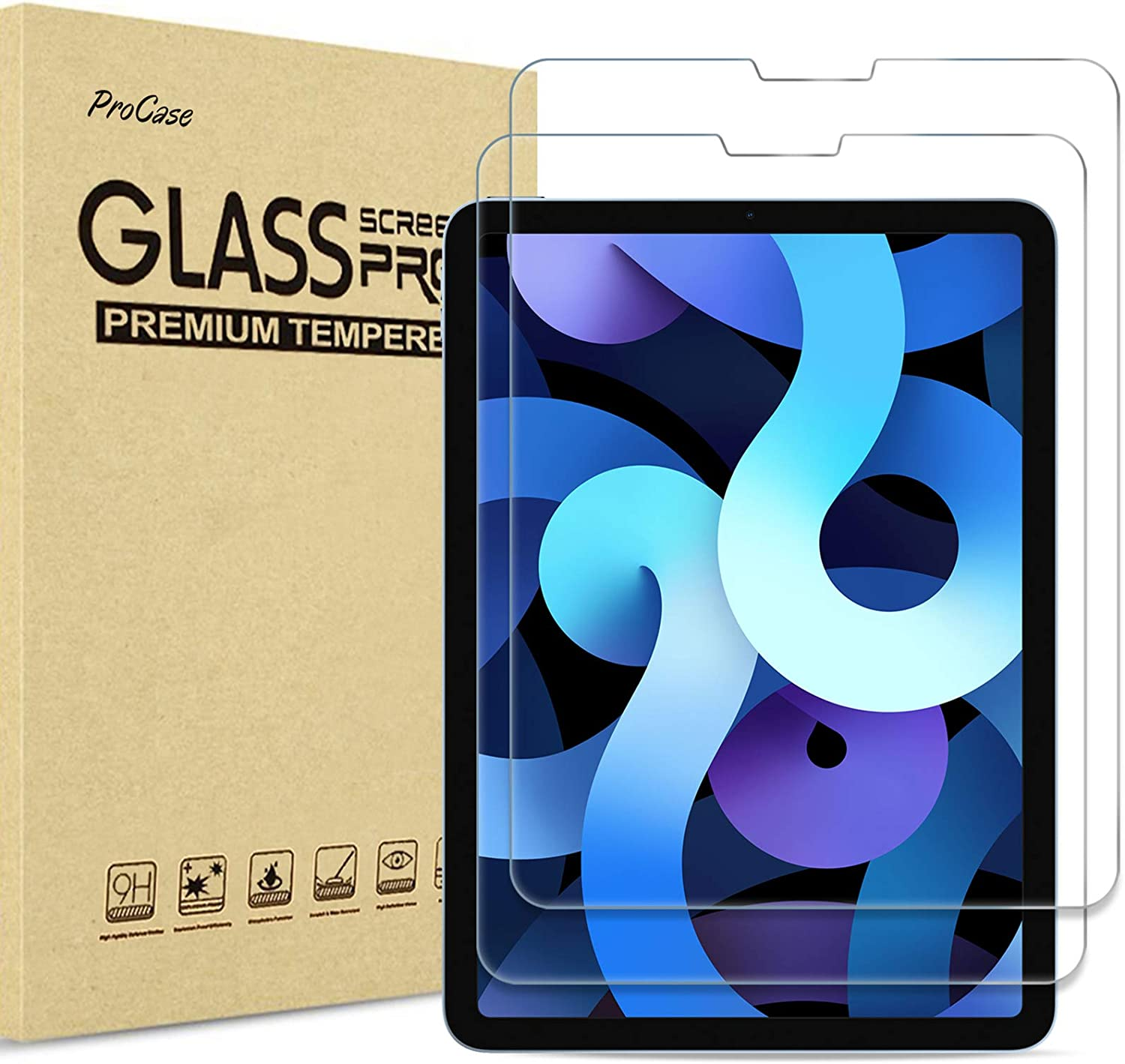 ?2 Pack? ProCase New iPad Air 4 Screen Protector 10.9 2020, Tempered Glass Screen Film Guard for iPad Air 4th Generation 2020 Release 10.9 inch -Clear