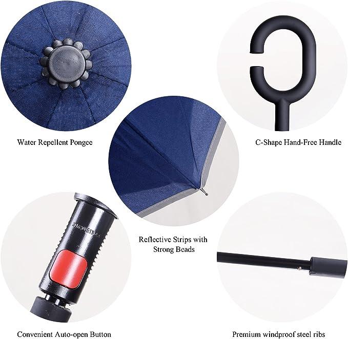 Auto-Abierto Doble Capa Paraguas Paraguas Invertido con Tira Reflectora de Luz