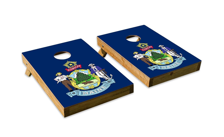 メイン州状態フラグデザインCornhole/Bean Bag Tossボードセット – Made in USA木製 – 2 ' x3 'テールゲートサイズ – Includes 8 corn-filled Beanバッグ B07F114L4L  Tailgate
