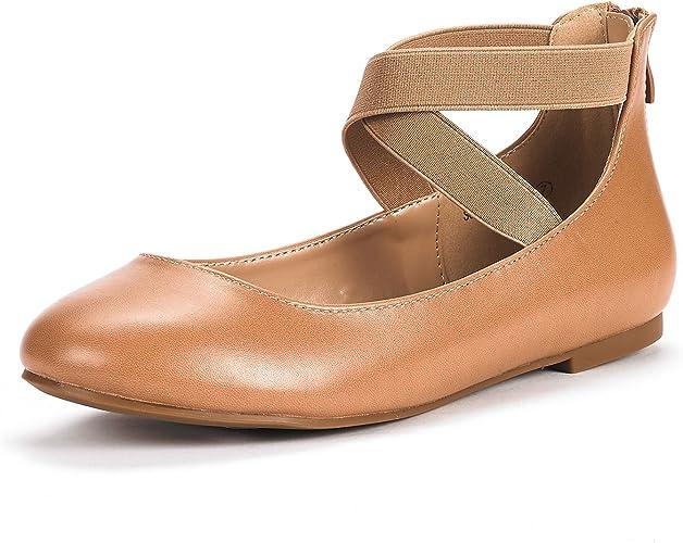 DREAM PAIRS Sole-Fina-Straps Damen Kn/öchelriemen Ballerinas Flache Schuhe Schwarz Gr/ö/ße 8 US 39 EU
