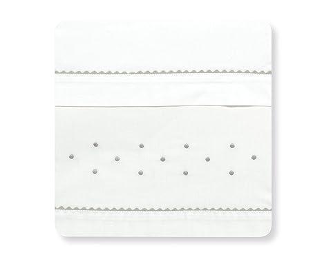 bajera+encimera+funda almohada Sabanas 100/% Algod/ón MINICUNA 50X80 Blanco Gris mibebestore