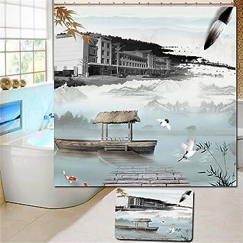 HMHESQ Duschvorhänge Bad Vorhang Wasserdicht Moldproof Duschvorhang  Landschaft Malerei Custom Polyester Dusch Stoff Bad Wasserdicht Bad