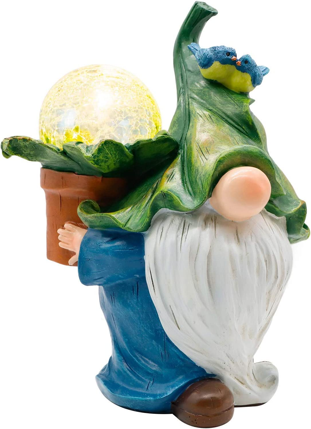 Garden Gnome Statue with Solar LED Lights, Resin Gnome Figurine Carrying Magic Orb, Outdoor Gnomes Garden Decorations for Patio Yard Lawn Porch, Ornament Gift