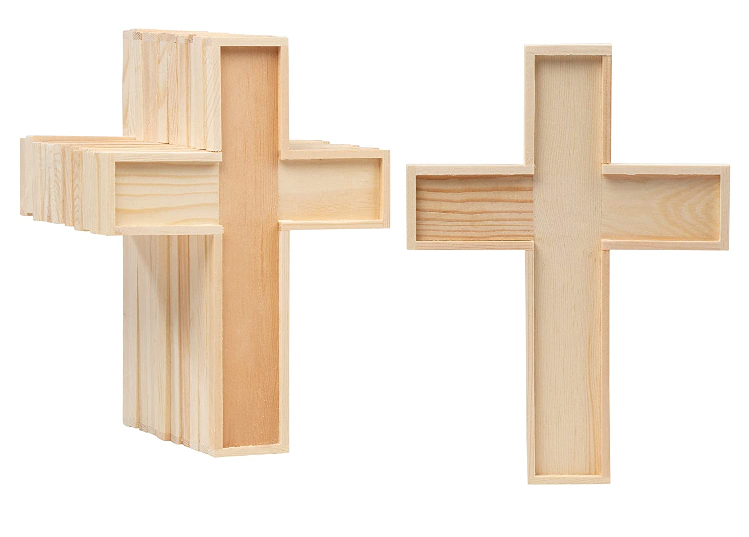 Unfinished Wood Cutout 12 Pack Wooden Cross Wood Pieces Wood Shapes For Wooden Craft Diy Projects Sunday School Church Home Wall Decoration