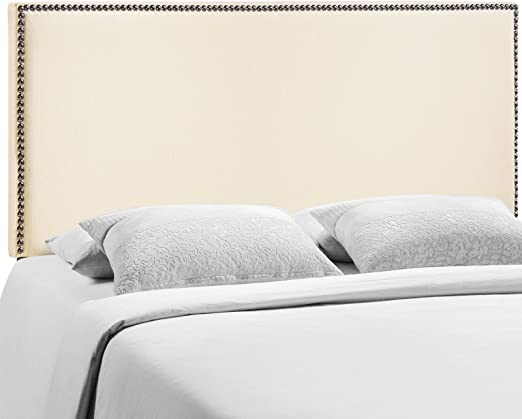Contemporary Design Modway Region Twin Nailhead Upholstered Linen Headboard Bed