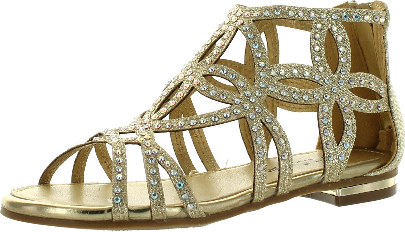 Forever Tory63 Kids Bling Rhinestone Four-Leaf Clover Cut Out Strap Gladiator Dress Sandal Shoes,Gold_T-63K,3