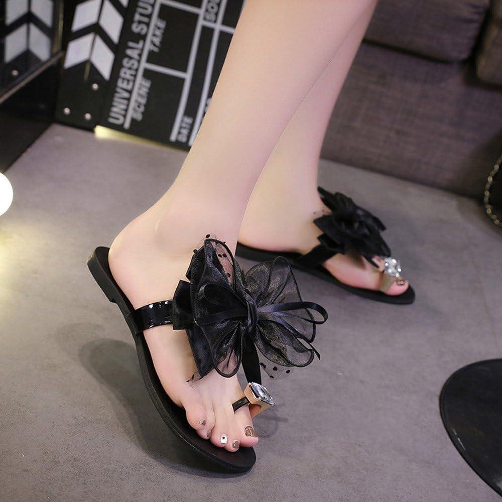 Suma-ma Womens Flower Bow Flat Heel Slippers Round Toe Sandals Bohemia Beach Casual Shoes