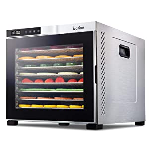 Ivation 10 Tray Premium Stainless Steel Electric Food Dehydrator Machine 1000w for Drying Beef Jerky, Fruits, Vegetables & Nuts