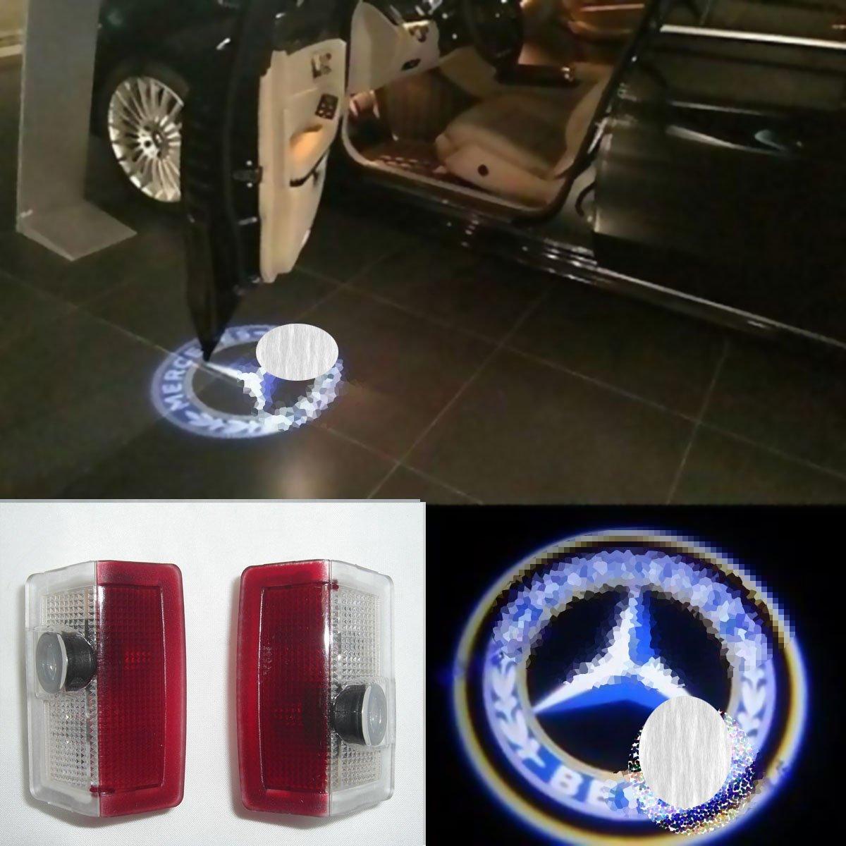 2X LED Door Step Courtesy Light Welcome Light Laser Shadow Logo Projector For Benz X166 GL350 GL400 GL500 GL63 AMG X156 GLA180 GLA200 X253 GLC220 GLC250 GLC300 CNAutoLicht #1