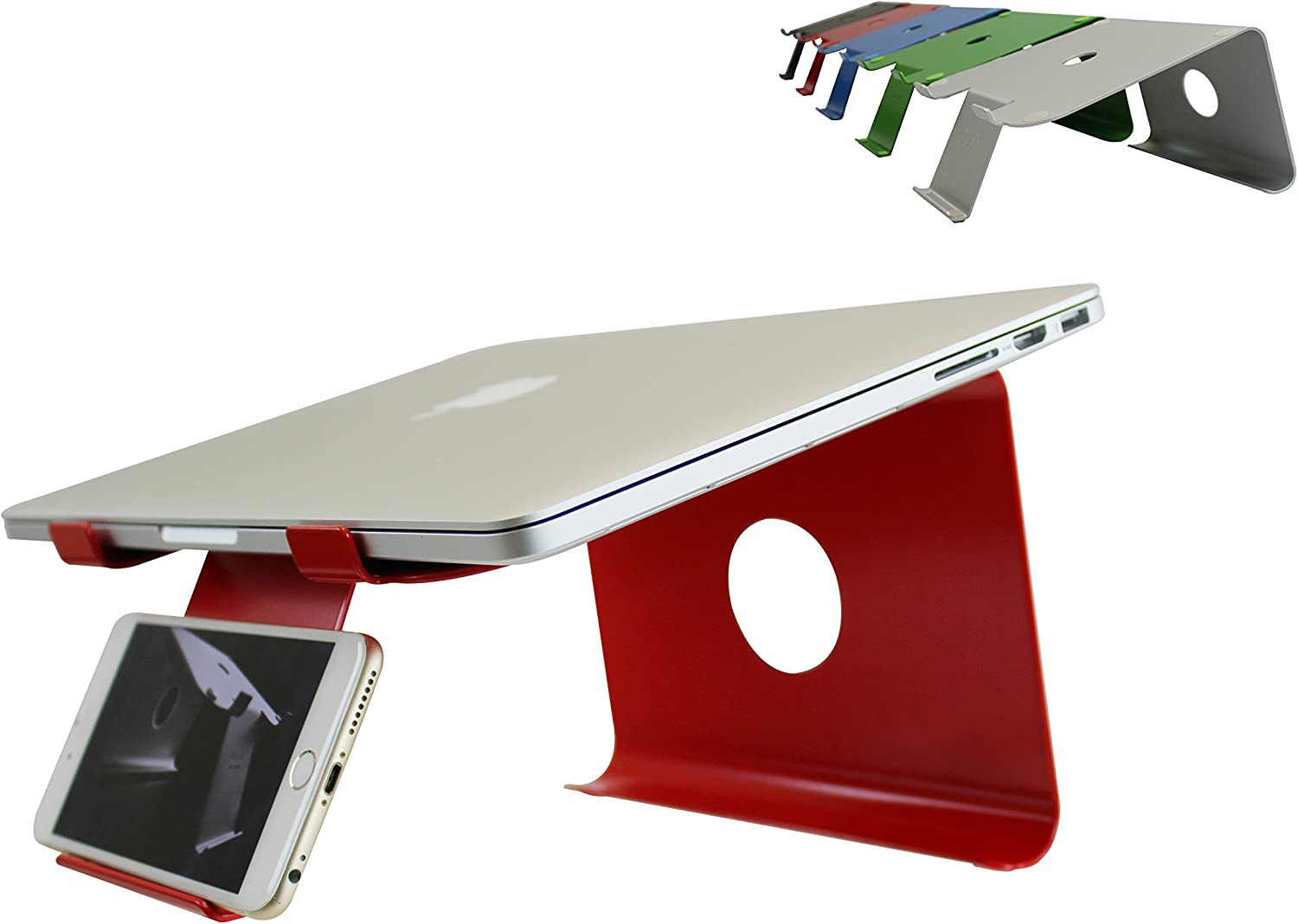DiiZiGN The Best Laptop Stand with Phone Holder for Notebook, Computer, Table (Model-N, RED)