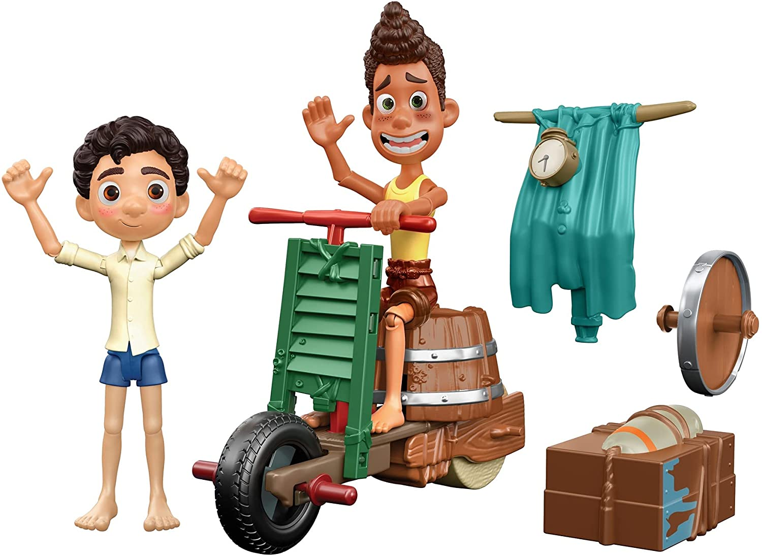 Mattel Disney and Pixar Luca Scooter Build & Crash Pack with Luca Paguro & Alberto Scorfano Posable Action Figures & 6 Swappable Scooter Pieces, Gift for Kids Ages 3 Years & Older