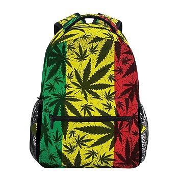 d9b2dc1f2584 TIZORAX Cannabis Leaf On Grunge Rastafarian Flag Backpack School Bag ...