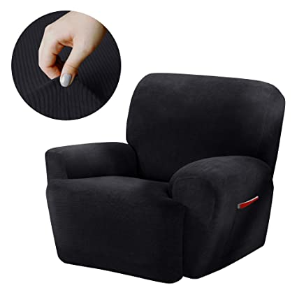Merveilleux Maytex Collin Stretch 4 Piece Recliner Chair Furniture Cover Slipcover,  Black