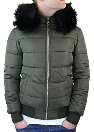 18382650f MTX Mens Bomber Puffer Jacket Quilted Warm Winter Removable Fur Hood ...