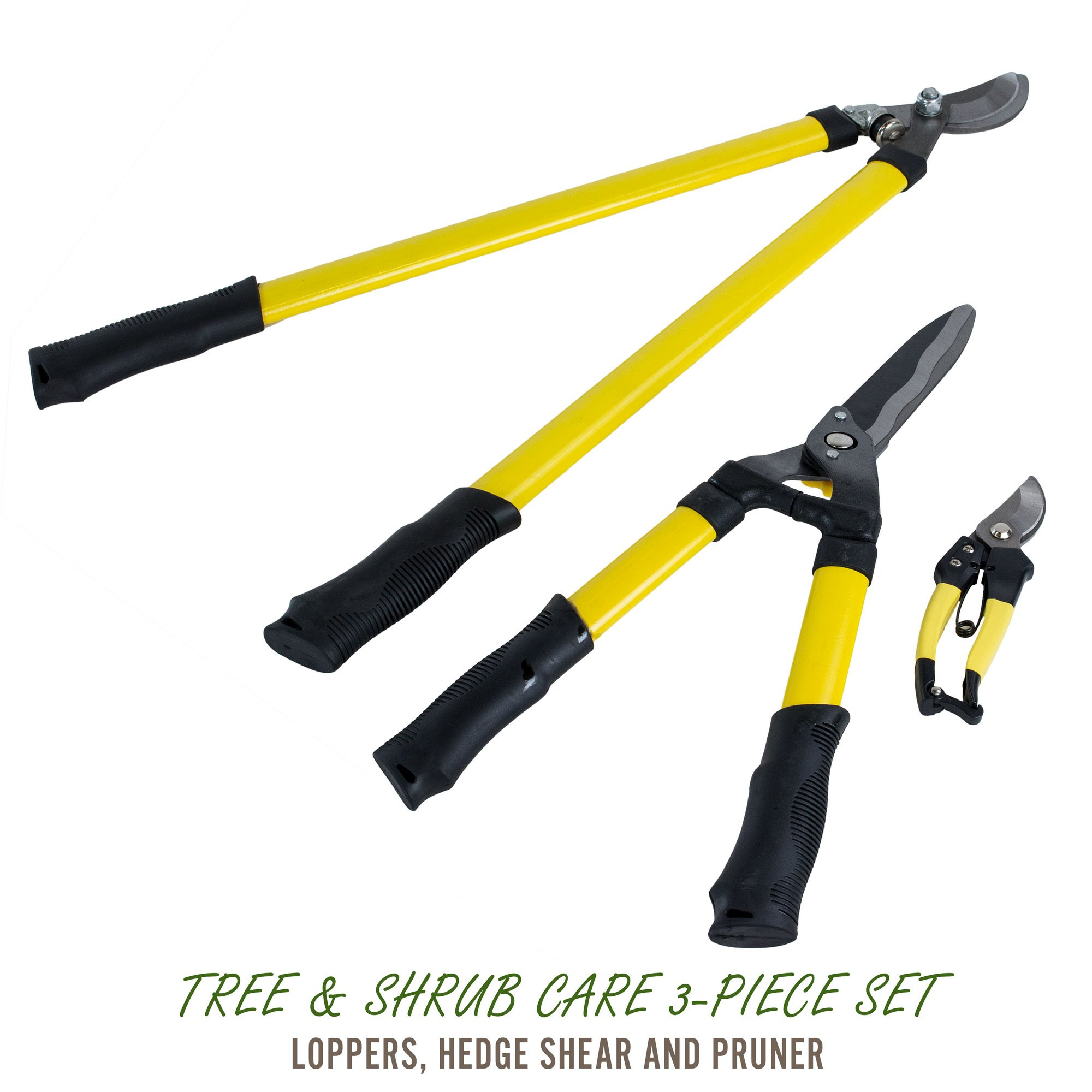 Three Piece Combo Gardening Tool Set - Lopper, Hedge, and Bypass Pruning Shears