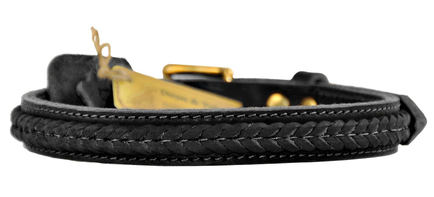 Dean and Tyler THE BRAID ONE , Dog Collar with Braided Design and Brass Hardware  Black  Size 20Inch by 1Inch  Fits Neck 18Inch to 22Inch