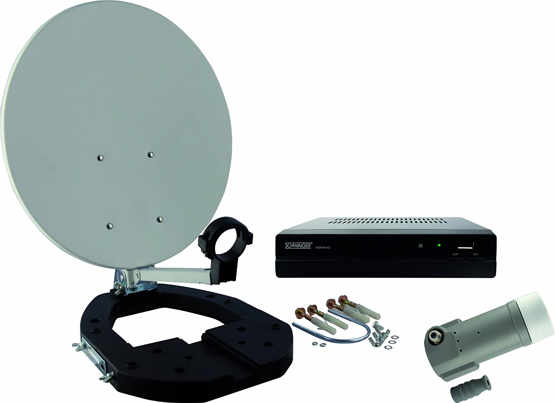 Schwaiger SAT3580 - Juego de accesorios portátil para conexión satélite en alta definición (FTA, 35 cm, LNB simple) (importado)