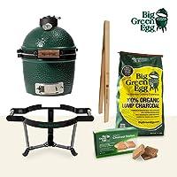 Komplettset Mini Big Green Egg Keramikgrill kleiner grün Keramik Ceramic Smoker Grill-Set Garten Camping Balkon Picknick ✔ Deckel ✔ oval ✔ tragbar ✔ Grillen mit Holzkohle