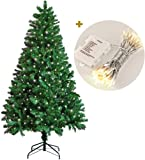 Koopower 1.8M/ 6FT Artificial Christmas Tree + 100 LEDs Battery Operated Xmas Fairy String Lights Warm White (Metal Stand, Green)