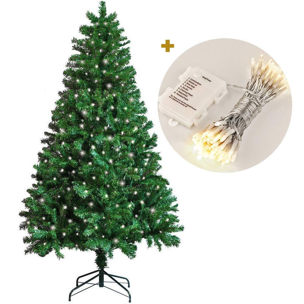 Koopower 1.8M/ 6FT Christmas Tree 800 Branches Artificial Tree with 100 LEDs Battery Operated Xmas Fairy String Lights Warm White (Metal Stand, Green)