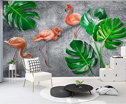 Wall Decals 3d Effect Mural Wallpaper Tropical Flamingo Gray Rain