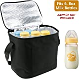 Breast Milk Baby Bottle Cooler Bag, Homga Breastmilk Insulated Cooler Tote Storage w/Air Tight Lock in The Cold & Preserve Important Nutrients (Fits up to 6 Large 8Oz. Bottles) (Black)