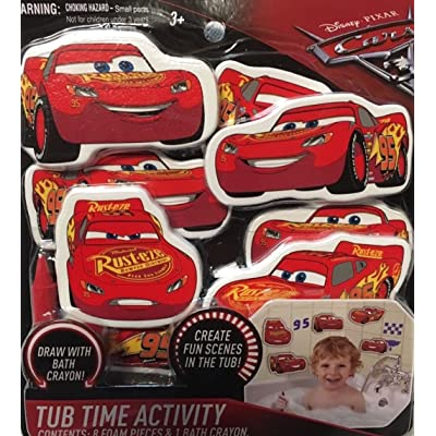 Cars 3 Disney Pixar Tub Time Activity Bath Set (8) Foam Lightning McQueen Toys: Everything Else