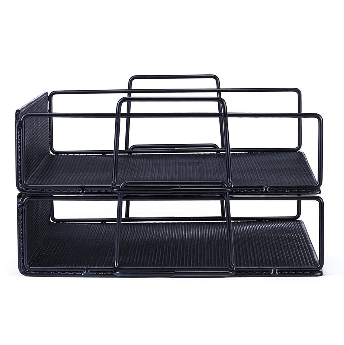 Mindspace 2 Tier Stackable Letter Tray Desk Organizer | The Mesh Collection, Black