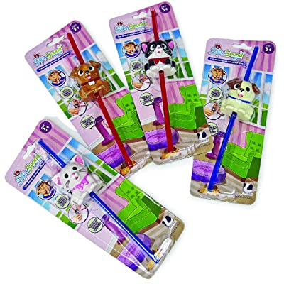Fun Drinking Straw with Realistic Sound Effects for Kids - Set of 2 (Pets): Toys & Games