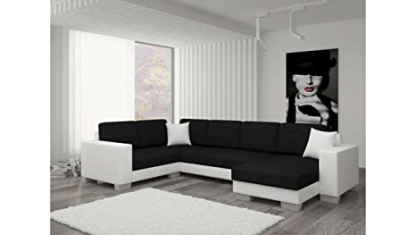 Divano Nero E Bianco : Justhome marco ii divano a u divano imbottito divano angolare