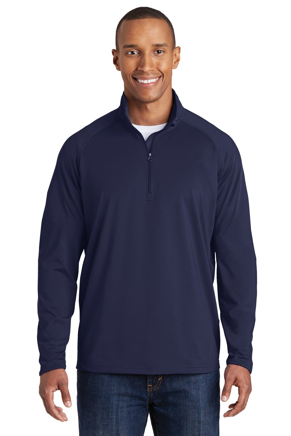 Sport-Tek Sport-Wick Stretch 1/2-Zip Pullover. ST850 True Navy L by Sport-Tek
