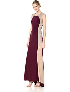 Xscape Womens Long Ity Sleeveless Dress with Beading Down The Side