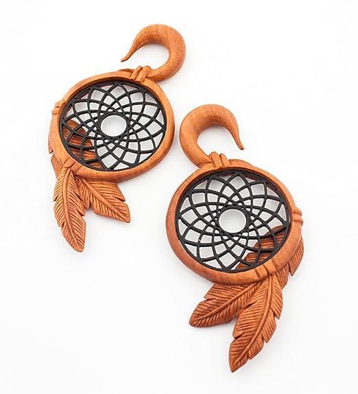 Amazon SB40 OJIBWE DREAM CATCHER SAWO WOOD EAR GAUGES HANGING Extraordinary Ojibwe Dream Catcher