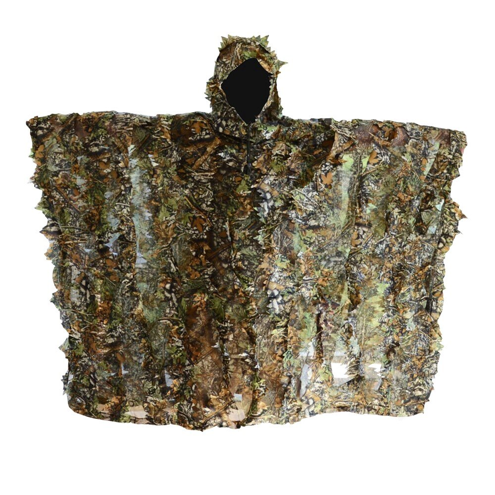 FengLiu Outdoor 3D Leaves Camouflage Poncho Camo Cape Cloak Stealth for Hunting Shooting Monitoring Wildlife Photography and Bird Watching etc