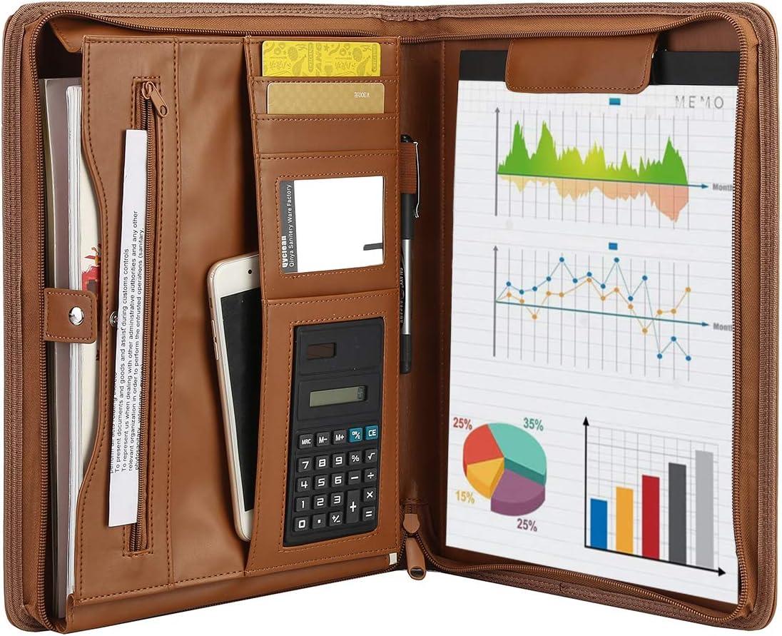 Leathario File Folder Padfolio Writing Pad Business Presentation Folder Portfolio(Yellow brown-2092)