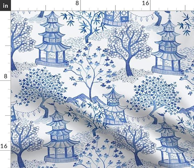 Round Tablecloth Blue Paris Cornflower Trend Cotton Sateen