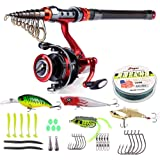 Fishing Rod and Reel Combos FULL KIT Including Telescopic Fishing Pole Spinning Reel Line Lures Hooks Fishing Tackles for Travel Saltwater Freshwater Bass Trout Fishing