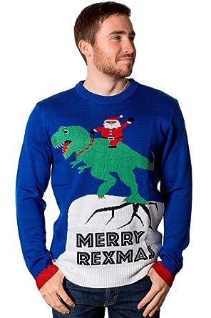 8464f19492da Amazon.com  Crazy Holidaze Men s Merry Rexmas Ugly Christmas Sweater ...