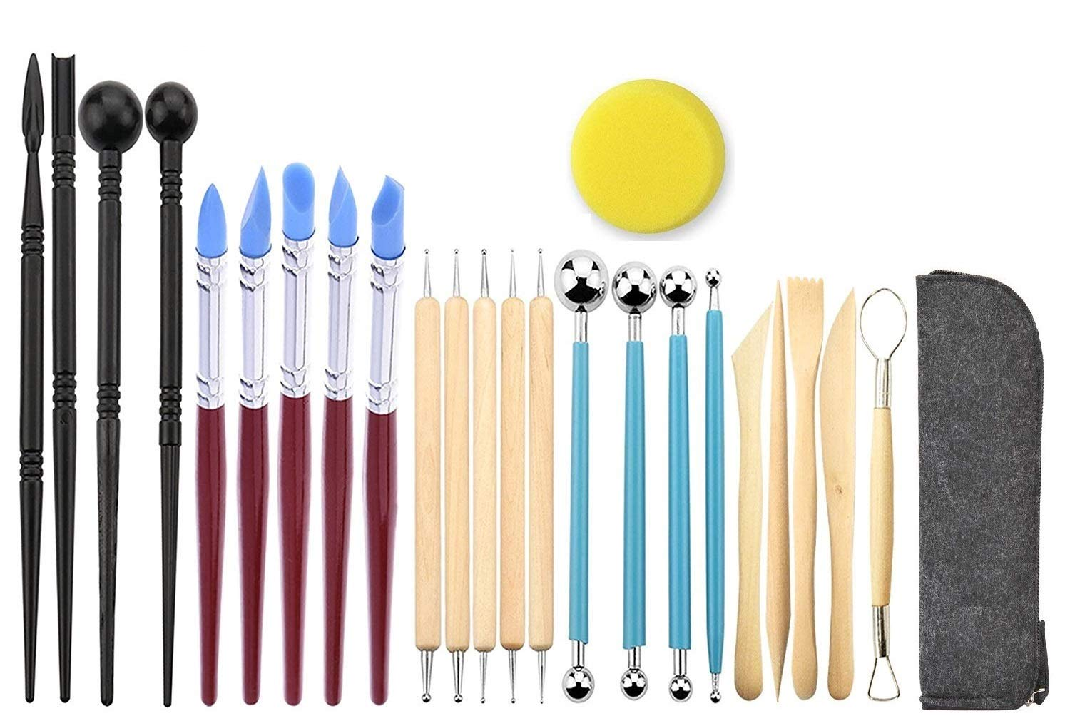 Ball Stylus Dotting Sculpting Kit - Jaybva Polymer Clay Sculptures Tools Rubber Tip Pens for Pottery Rock Painting Ceramics Doll Modeling Carving Embossing Paper Flowers 24pcs