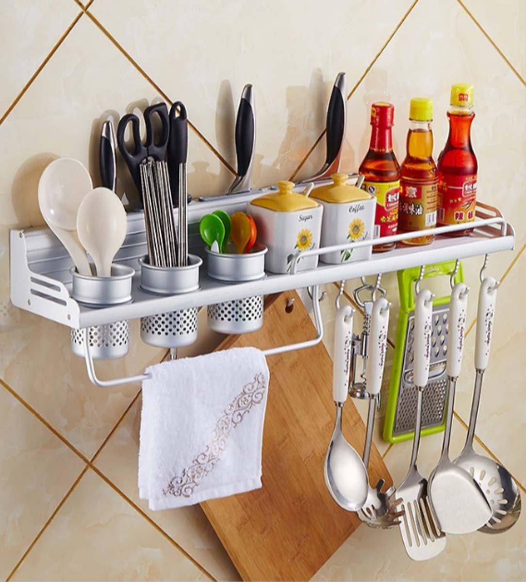 Utensili Rack, Spazio alluminio Organizzatore multiuso Scaffale da cucina Pan Pot Rack, Portaspezie, Cucchiaio per mestolo, Blocco coltelli, Porta asciugamani ( Dimensione : 40CM ) ZQM