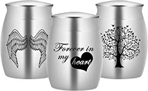 Bivei Small keepsake Urns for Human/Pet Ashes Set of 3 Mini Ashes Holder Matte Waterproof Memorial Cremation Funeral Decorative (Silver-Set of 3)