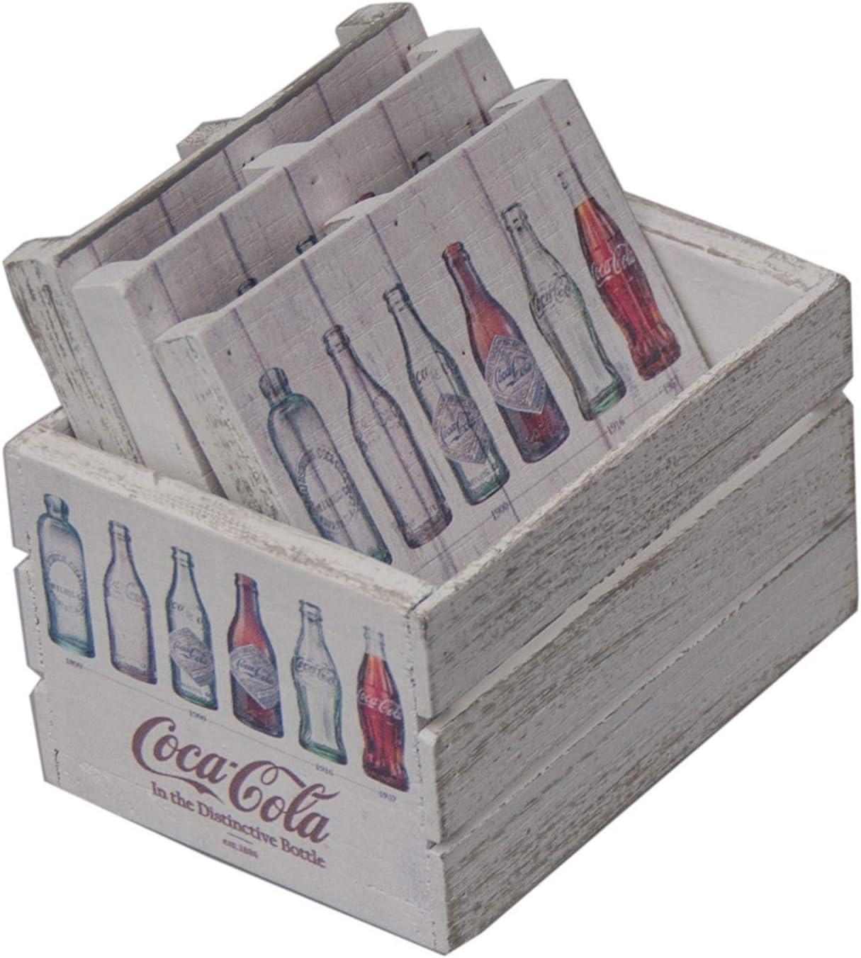 Untersetzer Coca-Cola Flaschengeschichte aus Holz mit Aufbewahrungsbox 6er Set