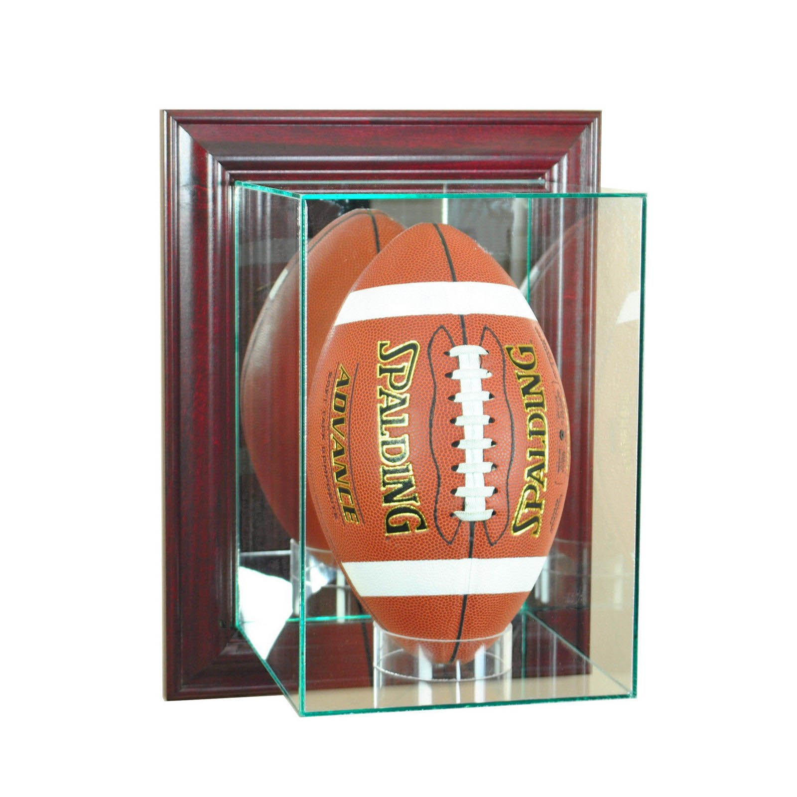 Wall Mount Glass Upright Football Display Case Uv Protection Cherry
