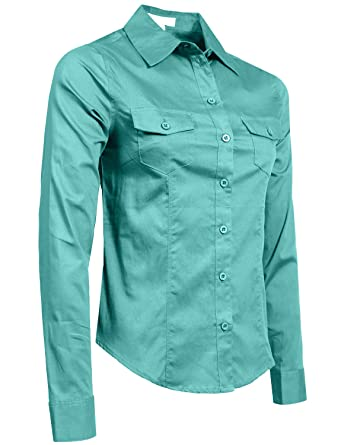 0ec4e537 Amazon.com: NE PEOPLE Womens Fitted Tailored Long Sleeve Button Down ...